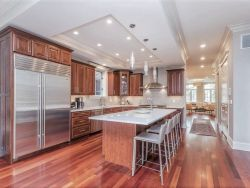 Large kitchen island in custom home